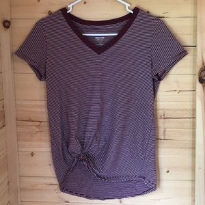Mossimo V-Neck Striped Tee with gathered front
